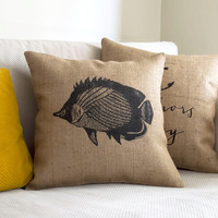 Fish Pillow Cover - Burlap Pillow Lake House Pillow Fish Sketch Beach Decor Nautical Design Hand Printed