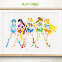 Sailor Senshi - Watercolor, Art Print, Nursaery Wall Art, Home decor, Gift For Girl, Watercolor Print, Sailor Moon Poster