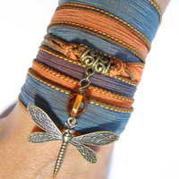 Dragonfly Amber Silk Wrap Bracelet,Dragonfly Jewerly,Yoga Bracelet,Bohemian Jewelry,Boho Bracelet,Wrap Ribbon Bracelet,Birthday Gift