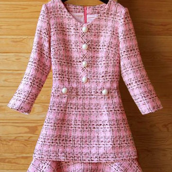 Pink Button-Up Printed V-Neck Ruffled Dress