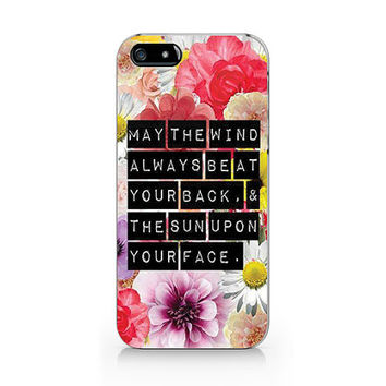 Text in floral case, text phone case, iPhone 5 5S case, iPhone 4 4S case, Free shipping M-524