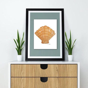 Seashells Print, Bathroom wall art, Coastal watercolor painting, Sea shell painting, Large Nautical Print, Orange Art, Home Decor, Beach Art