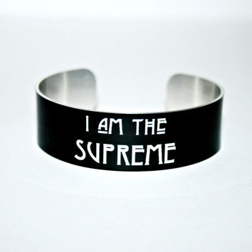 I Am The SUPREME Aluminum Cuff Bracelet , Witches, Witch Hat, Permanent image, Water Resistant