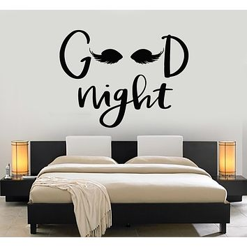Vinyl Wall Decal Phrase Good Night Eyes Bedroom Decoration Stickers Mural (g2883)