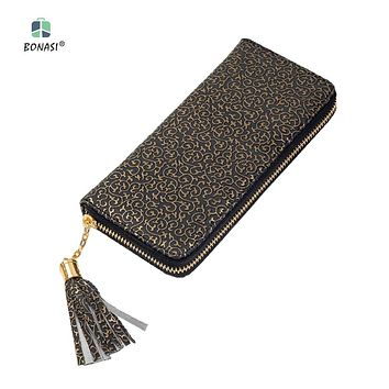 2017 New Flower Leather Vintage Long European Simple Large Capacity Women Wallet Clutch Zipper Change Purse Hasp Money Bag