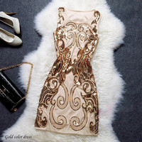 Cleo - 1920s Inspired Sequin Gatsby Dress Formal Dress f003