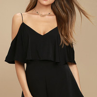 Daily Soiree Black Off-the-Shoulder Romper