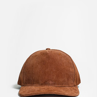 Textured Suede Snapback Hat in Camel Brown