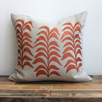 Botanical pillow cover hand printed in metallic copper on greige hemp