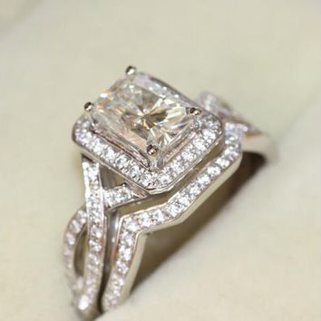 14KT White Gold 1.2 Carat Radiant Cut Halo Lab Diamond Infinity Set
