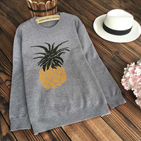 Cupshe Warm Hugs Pineapple Jacquard Sweater