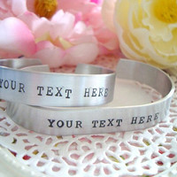 His And Hers Personalized Cuff Bracelet Made To Order