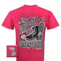 Girlie Girl Originals My Hero Wears Combat Boots Military Pink Bright T Shirt