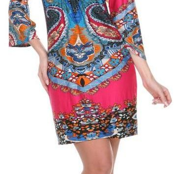 Madelyn Print Dress in Fuchsia Blue Short Shift V Neck 3/4 Sleeves