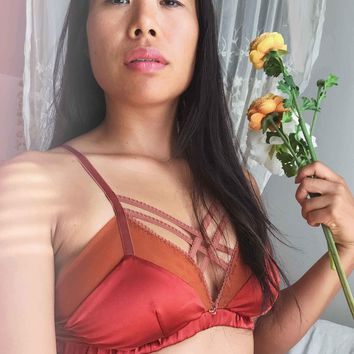 Isabelle Silk & Straps Soft Bra in Amber - LOW INVENTORY