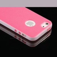 Deluxe Rose Pink White Fashion Sweety Girls TPU + PC 2-Piece Style Hard Case Cover for Apple iPhone 5 5G + Screen Protector