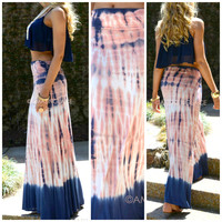 Just Beachin' Navy & Pink Tie Dye Maxi Skirt