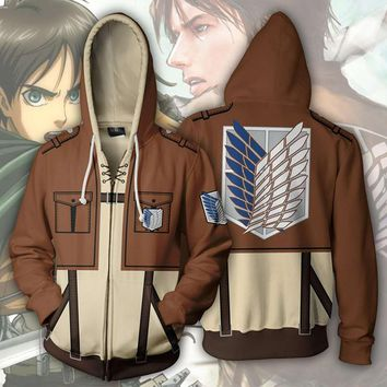 Cool Attack on Titan Anime  Wings Eren Jaeger Mikasa Levi 3D Hoodie Jacket Coat Cosplay Costume Outfit Scouting Legion AT_90_11