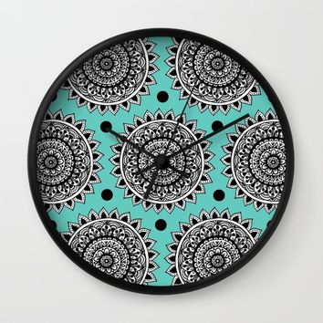 Turquoise Mandala Wall Clock by Sarah Oelerich