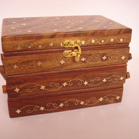 Wooden jewelry box with brass inlays three folds by Art8craft