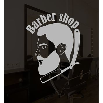 Vinyl Wall Decal Barbershop Logo Signboard Retro Straight For Men Stickers (3192ig)