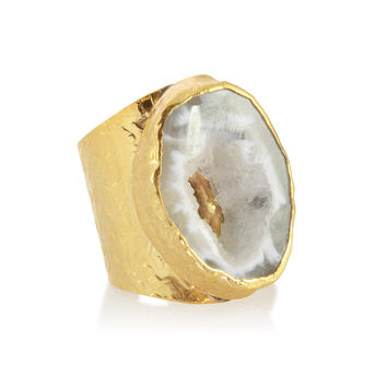 American Coin Treasures 24k Gold Agate Cigar Ring | Overstock.com Shopping - The Best Deals on Gemstone Rings
