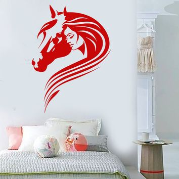 Vinyl Wall Decal Beautiful Girl With Horse Head Pet Room Decor Stickers Unique Gift (1640ig)