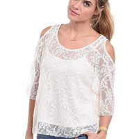 Oh So Pretty Lace Cold Shoulder Top