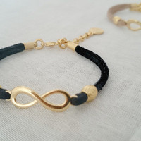 Best Friend Bracelet Black with 22 k Matte Gold Infinity Symbol,Friendship Bracelet,Best Friends Forever Bracelet,Best Friend Jewelry,Gift