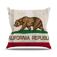 "Bruce Stanfield ""California Flag Wood"" Brown Throw Pillow"