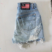 Cut Off Shorts Denim Jeans Ralph Lauren Polo Jeans Frayed Jean Shorts High Waisted Shorts Bleached Highwaisted Mom Jean Shorts Upcycled