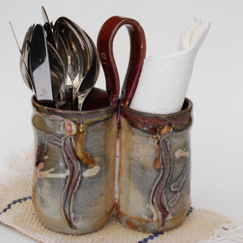 Kitchen Utensil Holder, Handmade Pottery Holder. Handmade Ceramic Flatware.