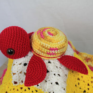 Sea Turtle Lovey - Crochet Cuddly Blanket with Stuffed Lil Sea Turtle- Baby Animal - Crochet Baby Blanket - Pink and Yellow