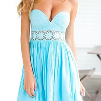 Light Blue Strapless Backless Lace Cut Out Dress
