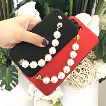 KMAX New Shining Candy Color DIY Luxury Bling Glitter Pearl Chain For iphone 6 6S Plus 7 7 Plus 8 Plus Soft TPU Phone Cases