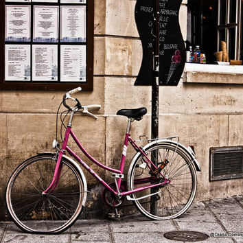 Paris Photography - Pink Bike by Cafe 8x10  Fine Art Print Photography, Paris Photography, Paris Print, Home Decor, Wall Art