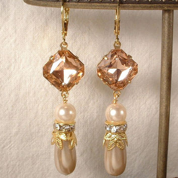 Vintage Blush Pink Rhinestone & Champagne and Ivory Pearl Gold Bridal Dangle Earrings Long Drop Art Deco 1920s Earrings Bridesmaids Gift