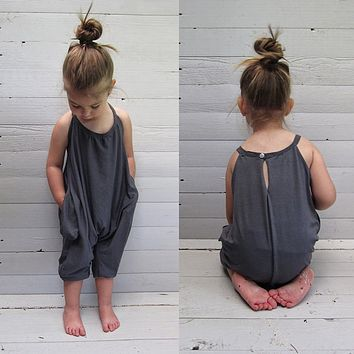 Toddler Kids Baby Girls Strap Romper Jumpsuit Harem Pants Trousers Clothes USA