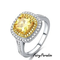 2.5 CT (8 mm) Art Deco Two Tone Double Halo Engagement Rings / Promise Ring, Yellow Cushion Cut Man Made Diamond Fairy Paradise