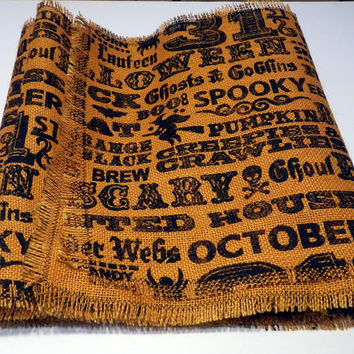 Burlap Halloween Table Runner, Holiday Burlap Accents, Holiday Linens, Burlap Table Decoration