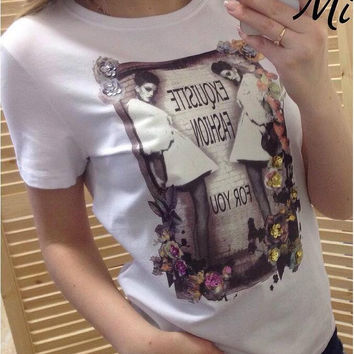 Woman and Letter Print Short Sleeve T-Shirt