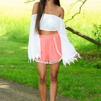 Up In The Air Crop Top-White