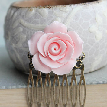 Light Pink Rose Comb Pastel Pink Flower Hair Comb Country Chic Bridal Hair Comb Vintage Style Rose Hair Piece Bridesmaids Gift For Her