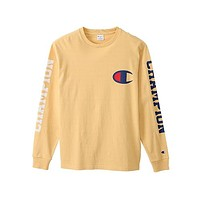 Champion Fashion Long Sleve Letter Print SweaterShirt Yellow