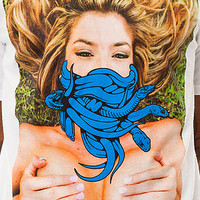 Crooks and Castles Tee Snake Face in White