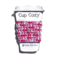 Crochet Coffee Cozy in Shades of Pink with Removable Pink Breast Cancer Awareness Ribbon Charm Travel Mug Sleeve, Can Koozie,  Eco Friendly