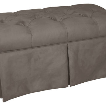 "Olivia 36"" Tufted Storage Bench, Gray, Bedroom Bench"