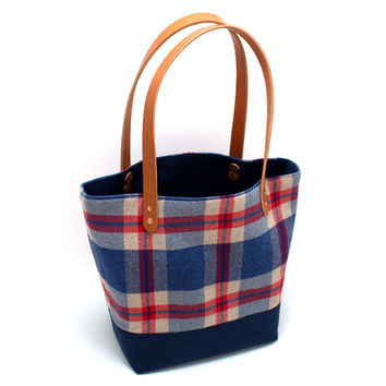 1960s Herringbone Plaid Market Tote