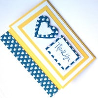 Thank You Card Handmade Card Yellow, White and Blue with Blue Flowers and Heart Handmade Card Thank You Card Cream Envelope