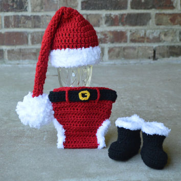 Santa Hat Diaper cover boots , Santa Set  newborn photo prop babys first christmas outfit